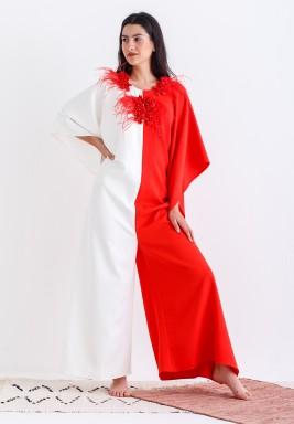 AL-Masa White & Orange Oversized Jumpsuit