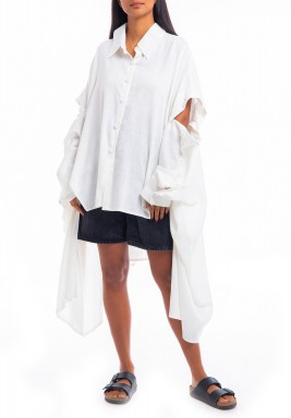 The Dash Signature White Buttoned Sleeves Shirt