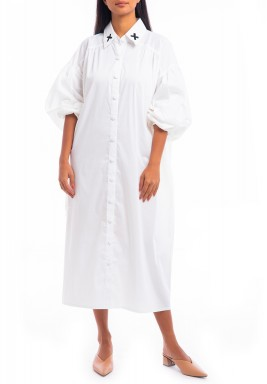White Palm Embroidery Puffed Sleeves Dress