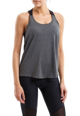 Grey Workout Top With Black Straps