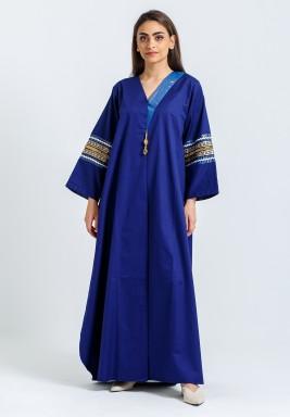 Blue Beaded Sleeves Maxi Kaftan