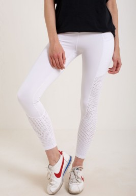 White Mesh Parts Maxi Leggings