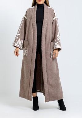 Beige Embroidered Belted Bisht