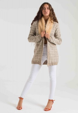 BEIGE FUR COLLAR KNIT CARDIGAN