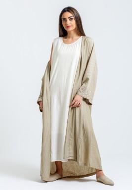 Beige Kaftan with White Sleeveless Dress