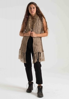 BEIGE FUR CABLE VEST