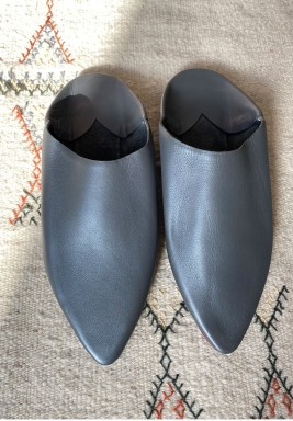 Loulou Grey Leather Babouche