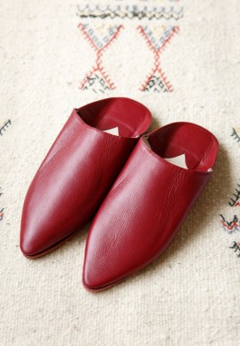 Badriyah Maroon Leather Babouche