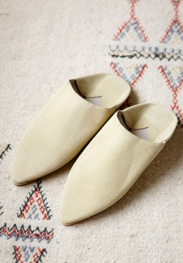 Aisha Beige Leather Babouche