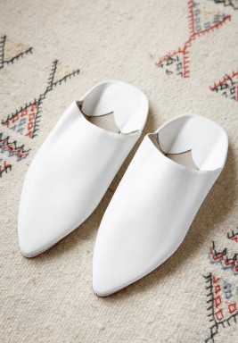 Haya White Leather Babouche