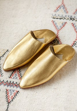 Sheikha Gold Leather Babouche