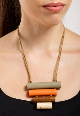 Quad-riangle Colored Wood Tubes Necklace