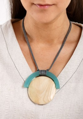 Teal U on Choco Wood Circle Necklace