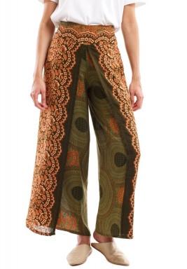 Olive & Brown Printed Maxi Pants