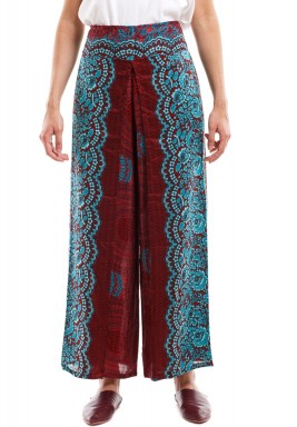 Auburn Red Honeycomb Print Harem Pants