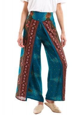 Dark Green Honeycomb Print Harem Pants