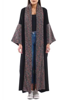 Black & Multicolored Shawl Collar Bisht