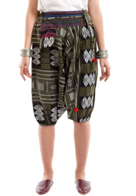 Olive Patterned Short Sherwal with Karkosh & Dark Embroidery