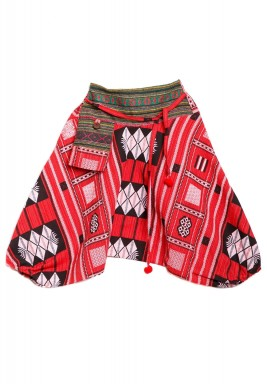Red Patterned Kids Sherwal with Karkosh & Embroidery