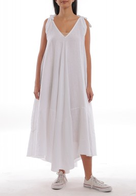 White Linen Wide-Cut Dress