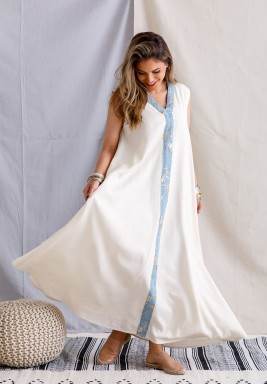 Off-White Kaftan with Blue Embroidery