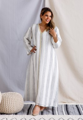 Striped Kaftan with Gold Embroidery