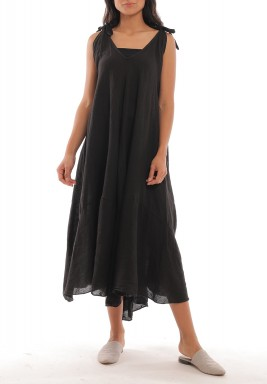 Black Linen Wide-Cut Dress
