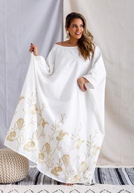 BiBii White Embroidered Kaftan