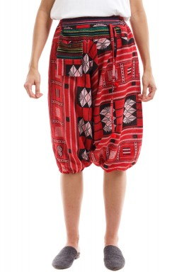 Red Patterned Short Sherwal with Karkosh & Dark Embroidery