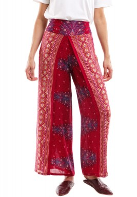 Burgundy Peacock Harem Pants