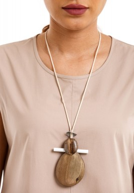 Wooden Girlie Figurine Necklace