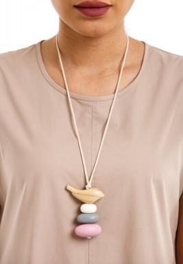 Light birdie nest on 3 eggs necklace