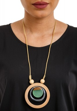 Lime green core circles necklace