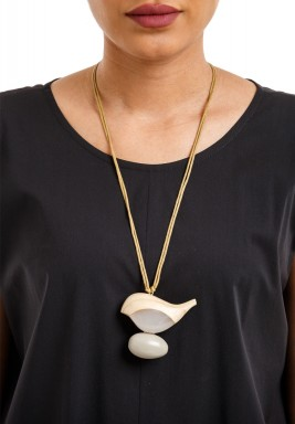 Birdie on grey egg necklace