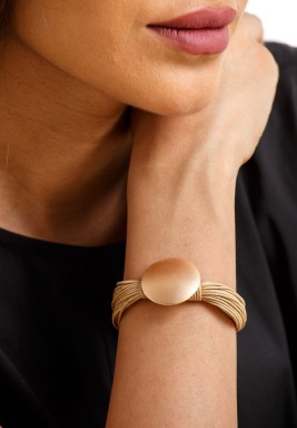 Beige & Bronze Circle Bracelet