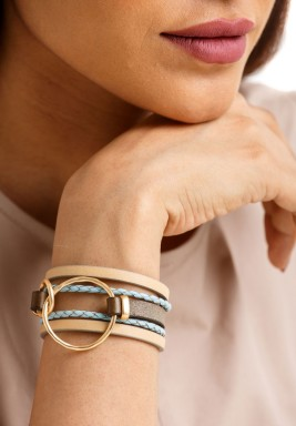 Golden Loop Leather Bracelet