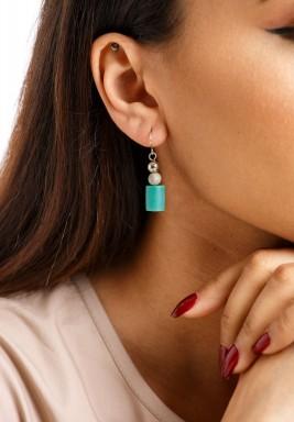 Silver & Green Hook Earrings