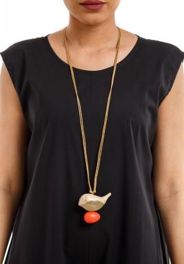 Birdie on orange egg necklace