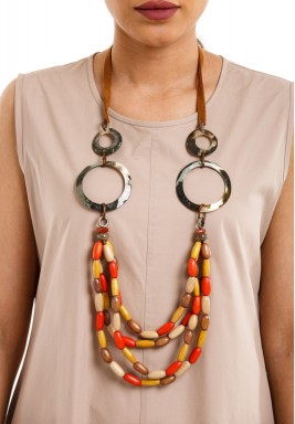 Side Shell Rings & Colorful Wood Beads Necklace