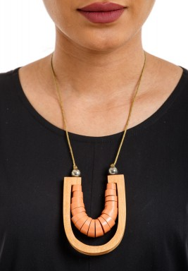 Pumpkin Pleated Horseshoe Necklace