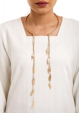 Golden leaves strap necklace