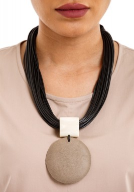 Grey Circle Disc Pendant Black Braided Necklace