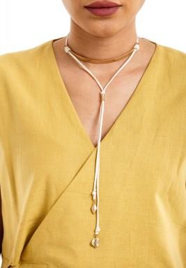 Gold on white tie choker