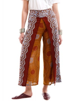 Brown Peacock Harem Pants