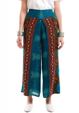 Teal Peacock Harem Pants