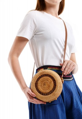 Beige Happy Picnic Circle Ring Crossbody Bag