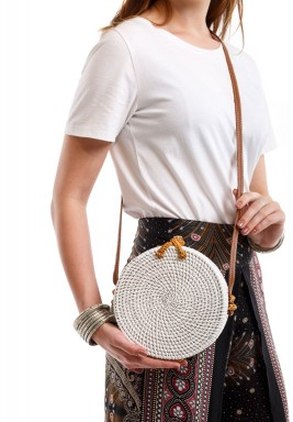 White Happy Picnic Crossbody Bag
