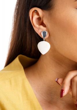 White & Silver Drops Earring