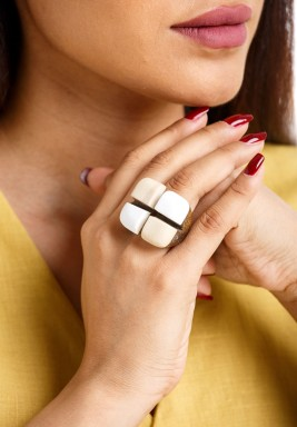 Choco-Milk Twin Cubes Ring