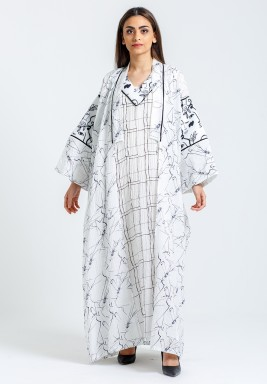 White Printed Dress & Bisht